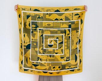 Maze furoshiki (mustard) Japanese eco wrapping textile/scarf, handmade in Japan