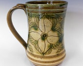 A Gold and Green Dogwood Mug (Byzantine Floral)