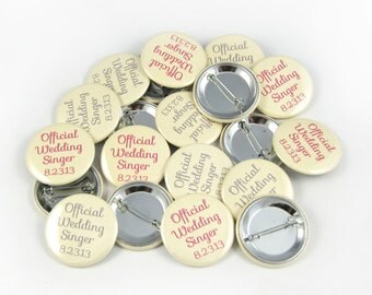 1.5 Inch Custom Button Pins or Magnets. Set of 150. Wedding Favors. Party Favors. Guest Mementos. Pinback Badges.
