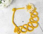 Knit crochet Necklace in mustard yellow, Fiber art Necklace with crochet cream flower brooch, Valentines day gift