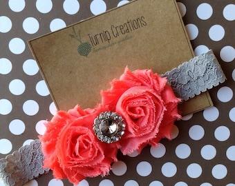 Gray Headband Coral Shabby Flower Photo Prop Spring Easter Headband