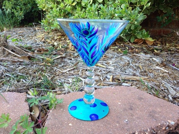 Peacock feather  Martini glass