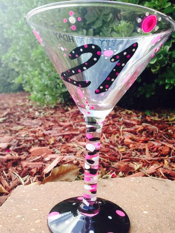 21st birthday martini glass birthday glass. 21st birthday glass