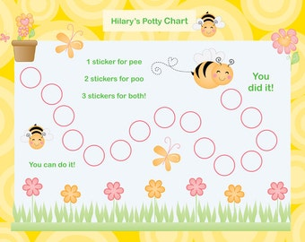 Printable Personalized Potty Chart - Busy Bees