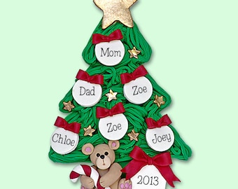 Chiristmas Tree with Bear Family of 6  HANDMADE POLYMER CLAY Personalized Christmas Ornament