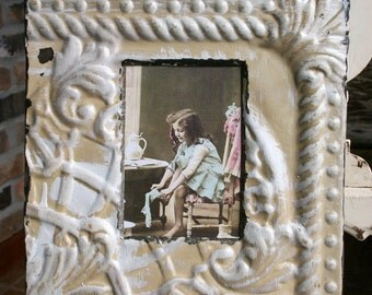 Antique Ceiling Tin Picture Frame --  4 x 6 -- White and Mustard Colored Paint -- Unique Design