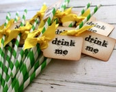 DRINK ME - Green & White Swizzle Straws and Tags - Set of 12 - You Choose Ribbon Color
