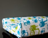 Changing Pad Cover - nursery bedding - baby changing station - Blue Tractors