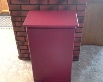 Solid Maple Wood Barn Red Garbage Bin