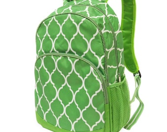 Lime Green Quatrefoil Backpack from All for Color, monogrammed with your name, customized