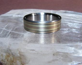 Titanium Wanapum  V1 14k Rose Yellow Green Gold Ring Wedding Band