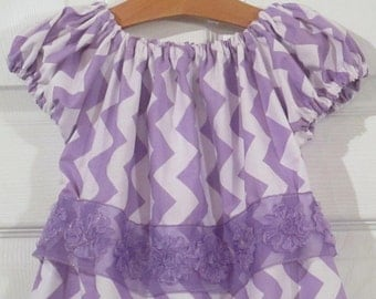 Peasant Style Butterfly dress - Pastel Lavender Chevron - Last one - Size 3 4 Toddler Ready to Ship