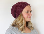 Knitted Slouchy Hat in Fig Purple - Sizes Toddler, Child and Woman- Other colors available