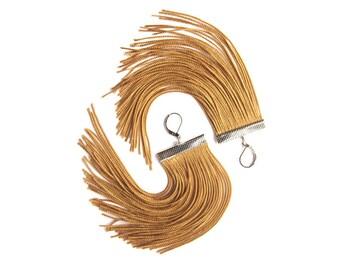Golden Short Fringe Earrings