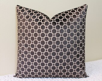 Robert Allen Velvet Geo in Black - Available in Lumbar Sizes and Square Sizes - Decorative Designer Pillow Cover