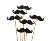 12 Large Black Mustache Photo Booth Props, Wedding Photo Props, Props on a Stick, Mustache on a Stick, Mustache Skewers - No125