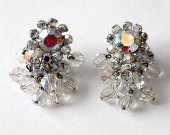 1950s rhinestone chandelier drop earrings, vintage clip earrings