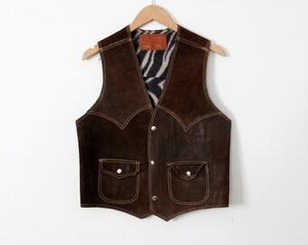 1970s leather biker vest, vintage brown suede rocker vest