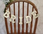 Bride Chair Sign, Wedding Garland - Kraft Paperboard & Glittery Cardstock - Gold/Silver Available - Rustic Chic, Vintage-Inspired, Boho