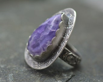 Purple Opal Ring, Size 6.75,  Purple Mexican Opal, Sterling Silver, Floral Ring Band, Artisan Made Ring, Pear Shaped Purple Gemstone