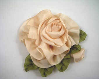 Silk Ribbon Rose with Bud in Pink Champagne, Ribbonwork Flower Pin Brooch – Wedding Prom Bridal Every Day
