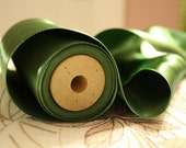 """Vintage Couture Ribbon: Wooden Spool 4-1/4"""" Wide Green Double-Faced Satin Trim Yardage"""