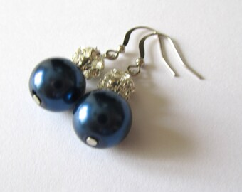SALE***Navy blue pearl earrings with ball rhinestone - Bridal earrings - Bridesmaids earrings
