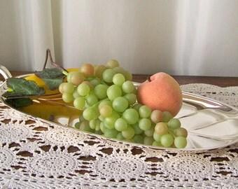 Vintage Serving Platter Banana Leaf Silver Plate Tray Buffet Serving Plate Fruit Platter Vintage 1980s