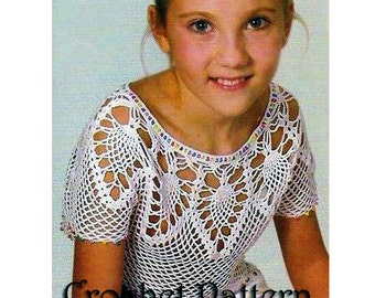 Summer Girls 7 years old Pineapple Crochet TOP Pattern with Chats only and information on yarn and stitches. Only  in PDF files