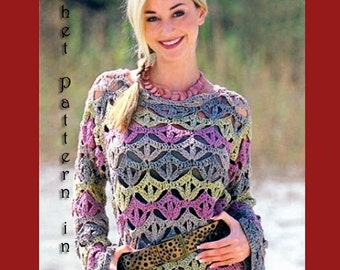 Woman all season sweater pullover Crochet  Pattern only, PDF Files