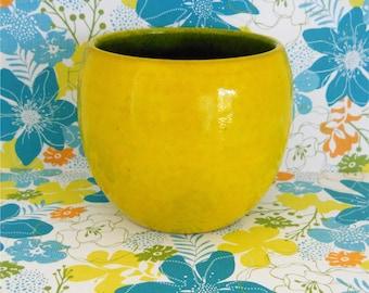 W. Germany - Pottery Planter/Vase - Chartreuse