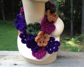 Purple Four Color Flower Scarf