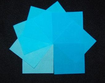 2-1/2 Inch Precut Quilt Squares, SKY BLUE,  80 Hand Dyed Squares, 8 Gradations,  Solids