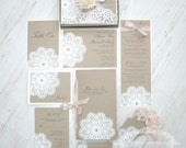 SALE:  vintage lace wedding invitation - Lace doily - featured in VOGUE UK  - Boxed invitation - Lillian Collection-  Sample