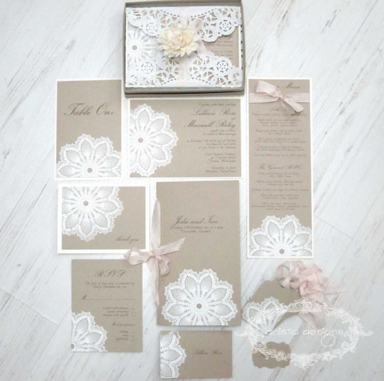 Crochet Wedding Invitations: SALE: Vintage Lace Wedding Invitation Lace Doily Featured