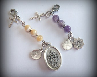 Catholic Key Chain - First Holy Communion - Christian Zipper Pull -  Purse Fob - Mother of Pearl