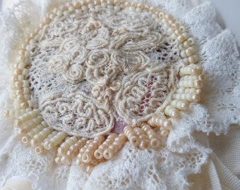 Rosebud Fabric Cuffs, Victorian lace wrist wraps, butter and cream lace