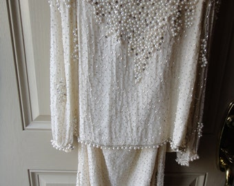 SALE Below 1/2 Price All Over Beaded Buff White 2 Pc. Gown