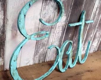 EAT Sign Shabby Chic Aqua Wall Hanging Home Decor Photo Prop Cottage Farmhouse Primitive Gift Distressed Aged Style Personalized