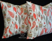 Decorative Pillows, Throw  Pillows, Pillow Covers, Accent Pillows,Set of Two 18 Inch - Peach, Taupe and White