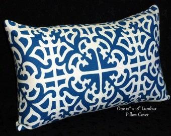 Decorative Throw Pillow, Lumbar Pillow, Accent Pillow - 18x12 Inch Lumbar, Blue and Ivory