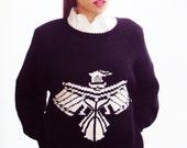 90s Grunge Sweater Nautical Navy White Chunky knit sweater SOFT GRUNGE hand knit Oversize Jumper PHOENIX unisex Jennifer Reed small-large