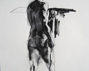 Original drawing male figure standing