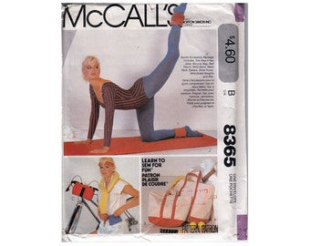 Fitness Sewing Pattern 80s Sports Accessories Tote Bag Bicycle Bag Fanny Pack Shoe Bag Ankle Weights Exercise Mat UNCUT - McCall's 8365 - S