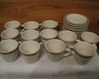 USA Syracuse China Collectible 12 Cups and Saucers Plenty Useful Retro Fun Vintage Restaurant/Railroad Heavy China Daily Use or Lg Gathering