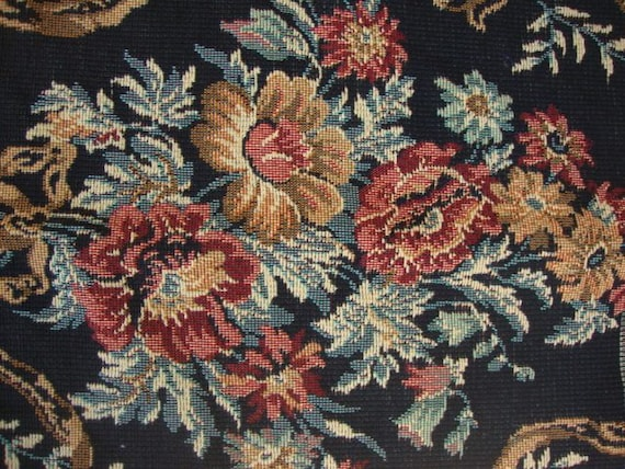 Vintage 54 Wide Victorian Style Fabric Floral Tapestry