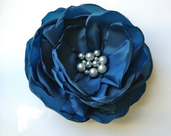 Prussian Blue Fabric Flower Hair Clip, Pin, Brooch or Headband