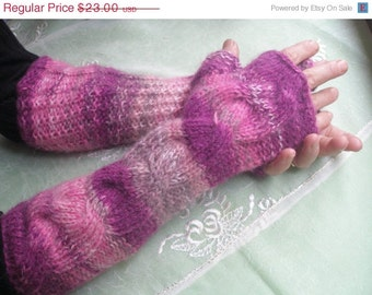 ON SALE Fingerless Gloves  Vool Wrist Warmers  , Extra Long and Soft , Trendy-Y-