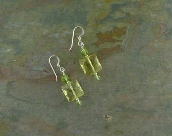 CITRINE & PERIDOT Gemstone Earrings Sterling Silver Natural Stone
