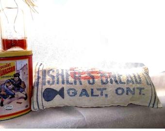 Pillow from Flour Sack, lumbar or decorative - enviro-friendly cushion, vintage!